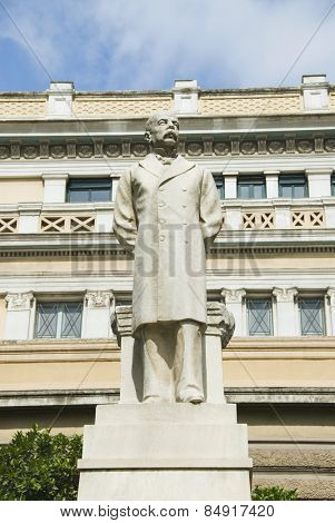 Low angle view of a statue, Charilaos Trikoupis, Old Parliament, Athens, Greece