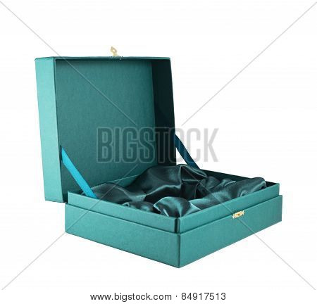 Green silk case box isolated