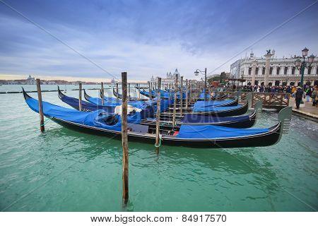 Gondolas In Front Of Riva Degli Schiavoni
