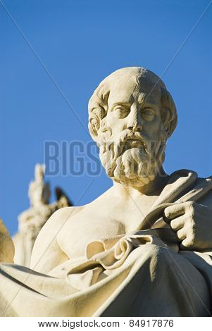 Low angle view of a statue of Plato at the Academy of Athens, Greece