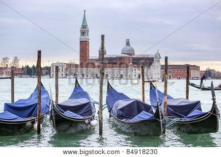 Gondolas With View Of San Giorgio Maggiore In Venice