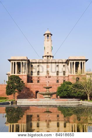 Reflection of a government building in water, Rashtrapati Bhavan, New Delhi, India