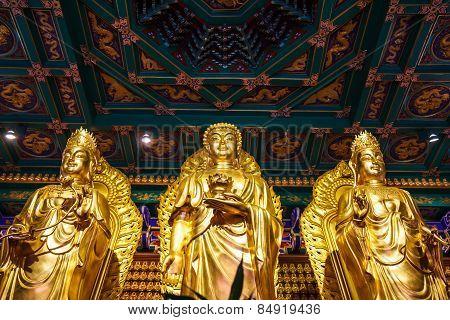 Nonthaburi, Thailand - December 27: Buddha Statues Wat Borom Racha Kanchana Phisake (wat Leng Noei Y