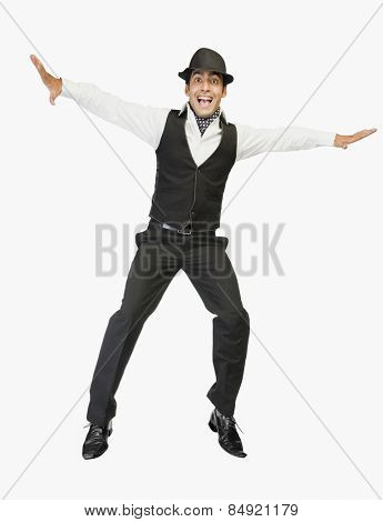 Businessman jumping with excitement