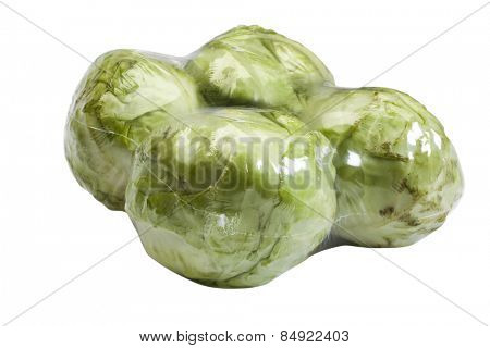 Close-up of packed cabbages