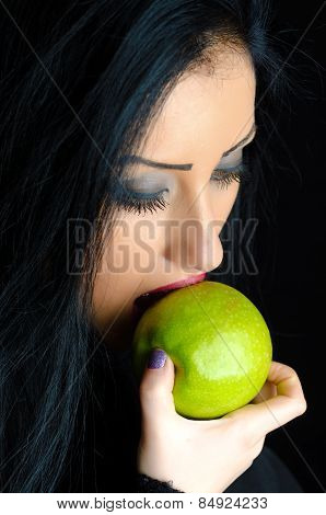 Woman Biting Green Apple