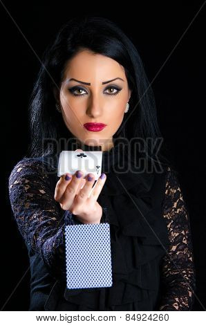 Elegant Woman With Playing Cards