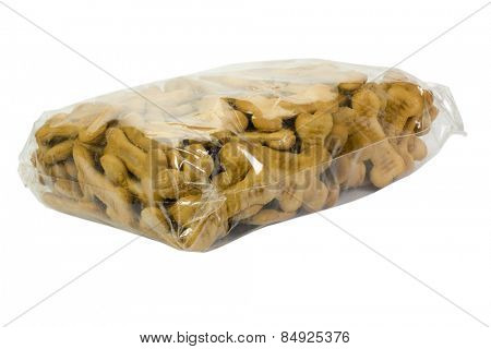 Close-up of a packet of dog biscuits
