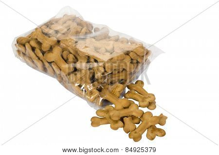 Close-up of a torn packet of dog biscuits