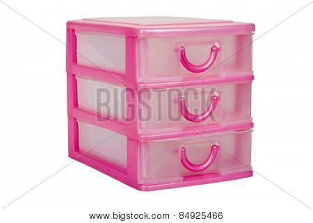 Close-up of plastic drawers