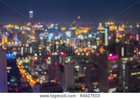 Abstract blur bokeh of Bangkok city night