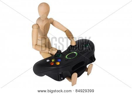 Artist's figure with a video game controller
