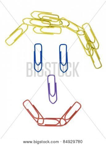 Paper clips arranged in a smiley face