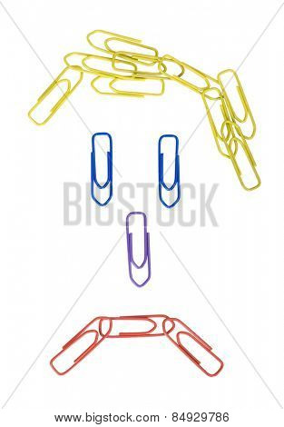 Paper clips arranged in a sad face