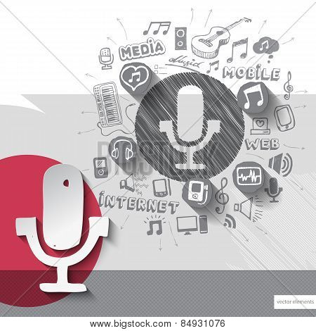 Hand drawn microphone icons with icons background