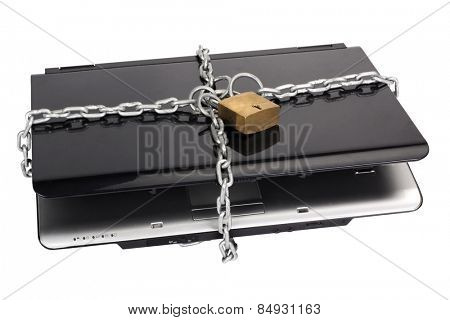 Laptop tied with chain and a padlock