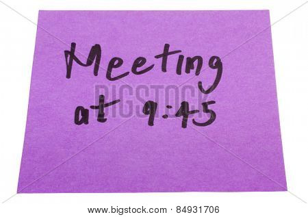 Word Meeting written on an adhesive note