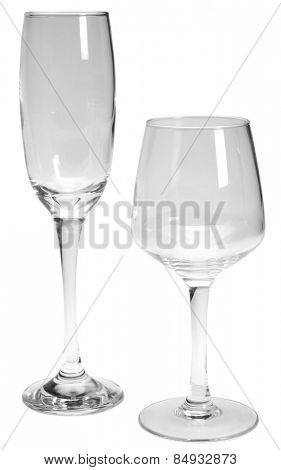 Close-up of an empty wine glass and a champagne flute