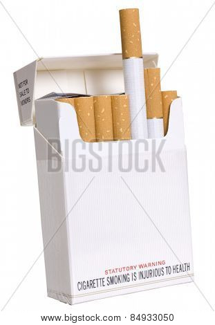 Close-up of cigarettes in a packet