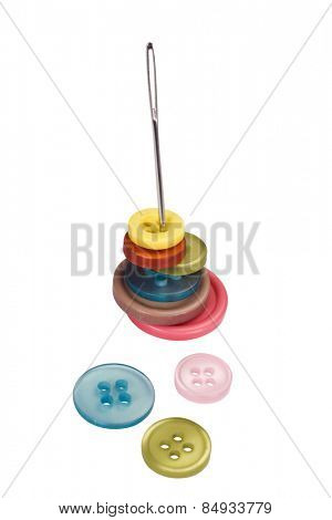 Close-up of needle with buttons