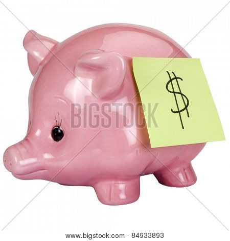 Dollar sign adhesive note stuck on a piggy bank
