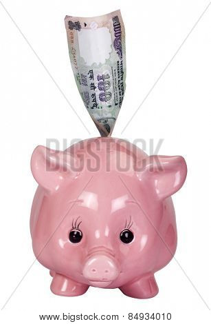 Close-up of a piggy bank with an Indian one hundred rupee note