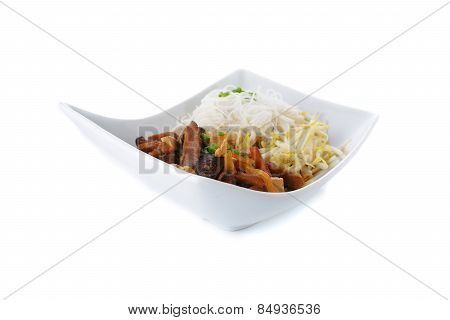 Rice Vermicelli Noodle With Brown Sauce And Bean Sprout In Bowl On White Background