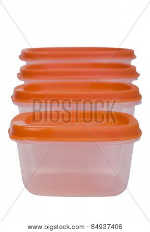 Close-up of plastic containers in a row