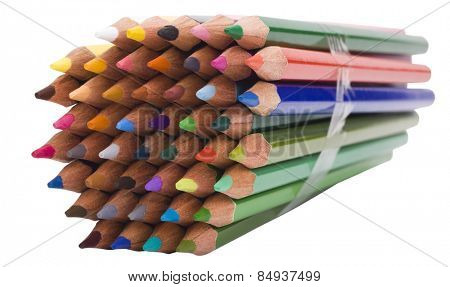 Close-up of a bundle of colored pencils