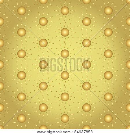 Gold Sun Seamless Pattern On Pastel Background