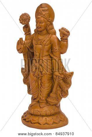 Close-up of a figurine of Lord Vishnu
