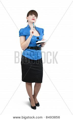 Female  Manager With  Notebook