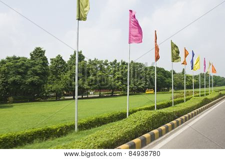 Flags at roadside, Shanti Path, New Delhi, India