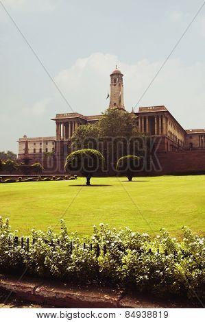 Facade of a government building, Rashtrapati Bhawan, New Delhi, India