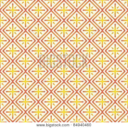 Orange Plus Sign And Rectangle Seamless Pattern On Pastel Background
