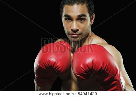 Male boxer in fighting stance