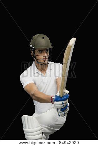 Cricket batsman playing a pull shot