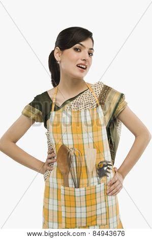 Housewife wearing an apron