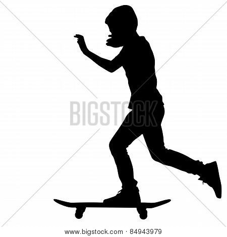 Black Of Skateboarders Silhouette. Vector Illustration.