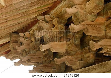 Yeongju, Korea - October 15, 2014:  Roof Support System Of Korean Traditional Architecture.