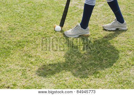 Hockey player in a field