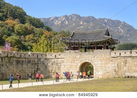 Mungyeong, Korea - October 14, 2014: First Gate Of Mungyeongsaejae