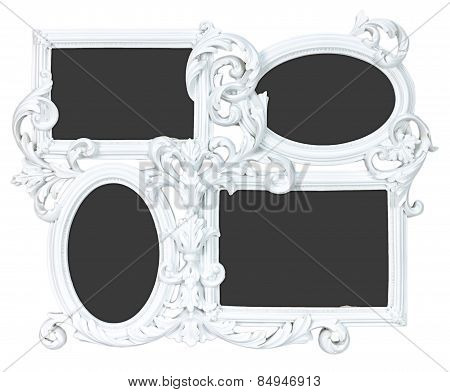 White photo frame made from gypsum with 4 places for your pictures