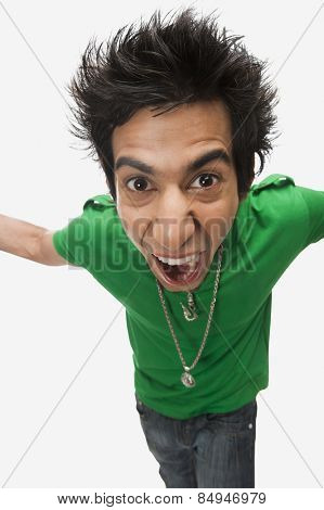 High angle view of a man shouting