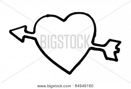 Outline of a heart with arrow