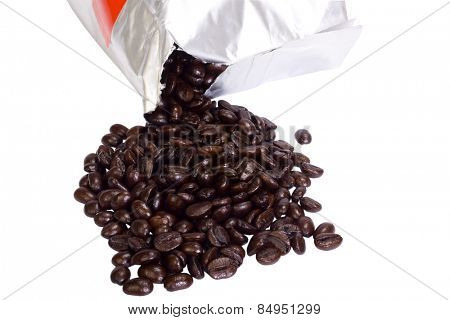 Coffee beans spilling out from a packet