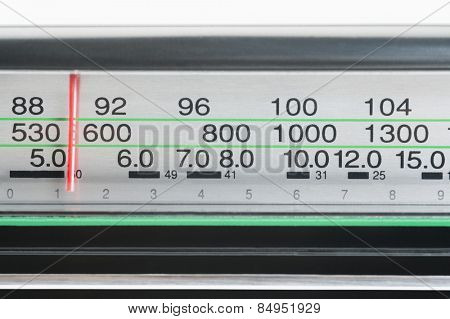 Receiver dial of a radio