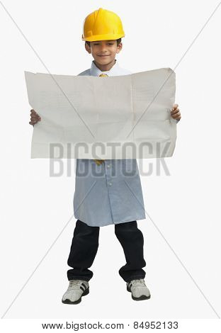 Boy dressed as an architect and showing a blueprint