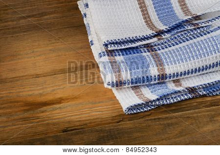 Tablecloth Textile On A Rustic Wooden Background