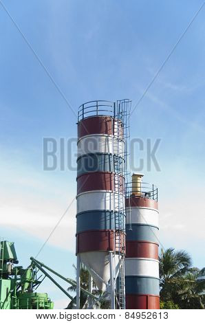 Low angle view of storage tanks, Tirupati, Andhra Pradesh, India